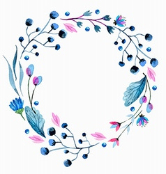 Watercolor flower wreath vector
