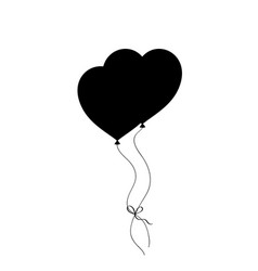 black silhouette of pair bounded heart shaped vector image