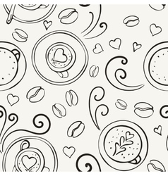 Coffee outline seamless pattern vector