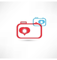 Red and blue nice cameras icon vector image