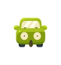 Shocked Green Car Emoji vector image