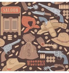 Western seamless pattern vector