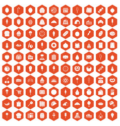 100 confectionery icons hexagon orange vector