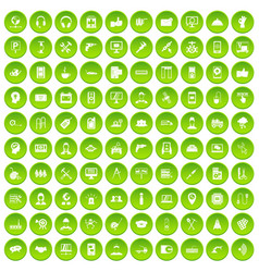 100 support icons set green circle vector