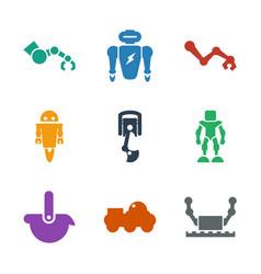 9 robotic icons vector