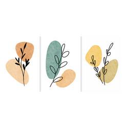 Abstract botanical wall art leaves boho vector