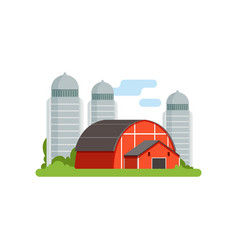 Agricultural silo towers and red barn countryside vector