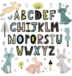 Alphabet with cute rabbits vector