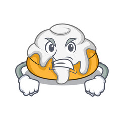 Angry cinnamon roll mascot cartoon vector