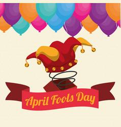 April fools day hat joker box ribbon balloons vector
