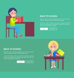 back to school set posters with boy and girl vector image