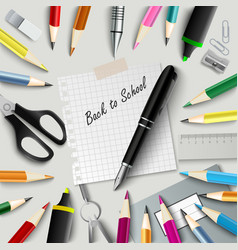 back to school with design aids on background vector image