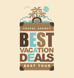 banner on the travel theme with suitcase and palms vector image