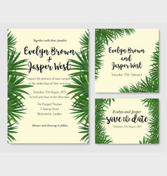 beautiful set of wedding invitation cards with a vector image