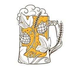 Beer mug abstract ornament vector image