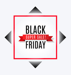 Black friday super sale banner with ribbon vector