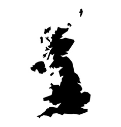 Black silhouette map of United Kingdom vector image