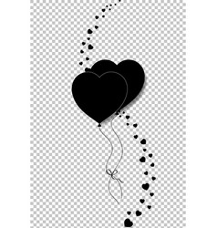 Black silhouette of couple heart balloons bounded vector
