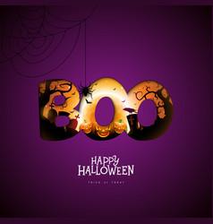 Boo happy halloween design with pumpkin moon and vector