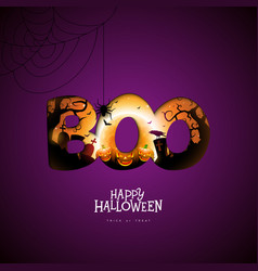 Boo happy halloween design with pumpkin moon vector