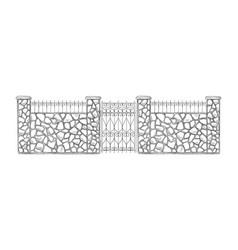 brick sketch fence vector image
