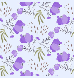 Bright summer pattern with violet poppy flowers vector
