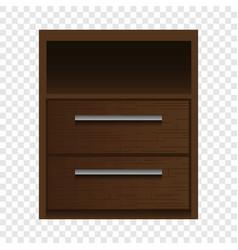 brown nightstand mockup realistic style vector image