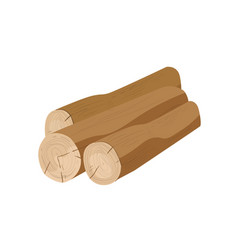 Brown tree trunks flat wooden vector