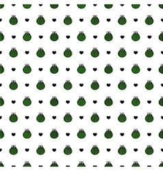 Bug green and black hearts seamless pattern vector image