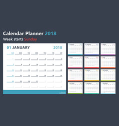 calendar planner for 2018 starts sunday vector image