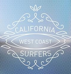California west coast surfers Monograms style vector image