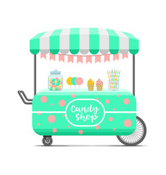 Candy shop street food cart colorful image vector