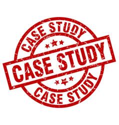 Case study round red grunge stamp vector