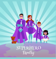 caucasian family superheroes in capes and vector image