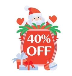 Christmas 40 Off Santa with Sale Poster vector