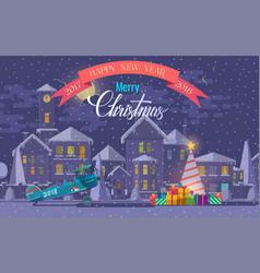 christmas greeting card of vector image