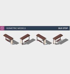 city bus stop - isometric flat 3d concept vector image