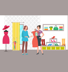 Clothing store shopper and seller sale vector