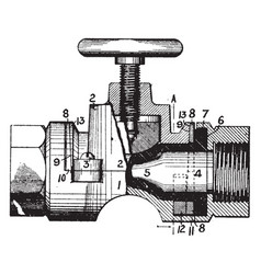 Coarse threading valve vintage vector