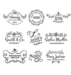 Collection of photography hand drawn logo vector