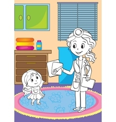 Coloring Book Of Doctor Showing X-ray Pictures vector image