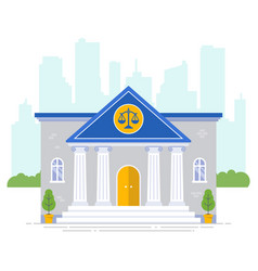 Courthouse with scales icon on a city background vector