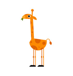 Cute giraffe cartoon character with long neck vector