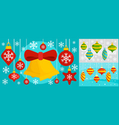 Decorate christmas tree toys banner set flat vector