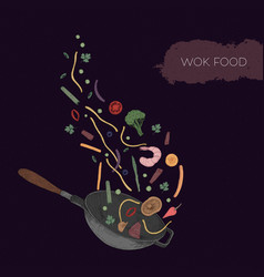 detailed colorful drawing of wok and seafood vector image