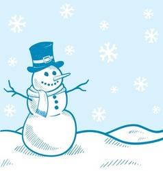 Doodle snowman winter scene vector