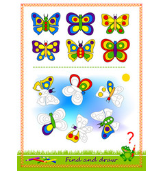 Educational game for kids find butterflies vector