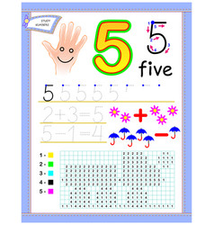 Educational page for kids with number 5 paint vector