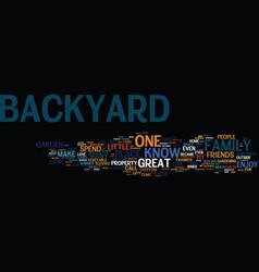 Enjoy your backyard text background word cloud vector