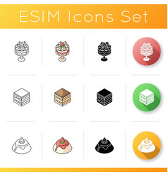 European desserts icons set vector